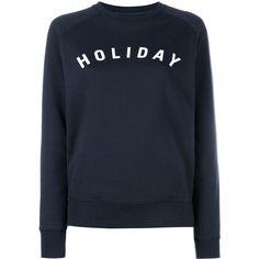Holiday Logo Printed Cotton Sweatshirt ($98) ❤ liked on Polyvore featuring tops, hoodies, sweatshirts, sweaters, blue, blue top, blue sweatshirt, blue crew neck sweatshirt, logo sweatshirts and raglan sleeve sweatshirt