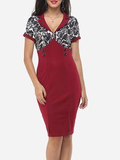 Patchwork Printed Elegant V Neck Bodycon Dress Only $12.99- fashionme.com - fashionme.com