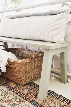 DIY Modern Farmhouse Bench - Liz Marie Blog