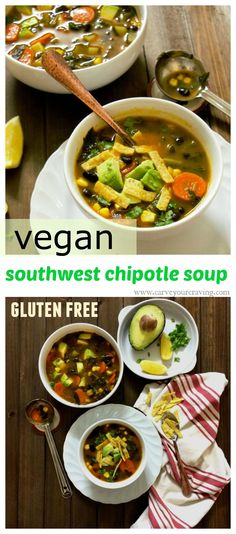 southwest chipotle soup with added greens (vegan and gluten free) one hearty bowl of a soup and a salad .