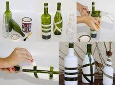 Ideaal in alle kleuren. Je moet niet per se een wijnfles gebruiken, andere potjes, bv. confituurpotten zijn ook zeer leuk!   Tip: Gebruik glasverf als je de potte wilt kunnen afwassen!