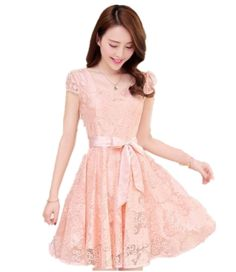 Summer Women's Slim Chiffon Lace Party Evening Cocktail Casual Dress at Amazon Women's Clothing store: