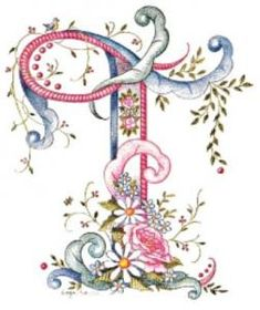 pink blue flower letter T Embroidery Letters, Hand Embroidery, Machine Embroidery, Embroidery Designs, Fancy Letters, Floral Letters, Monogram Letters, Alphabet Art, Alphabet And Numbers
