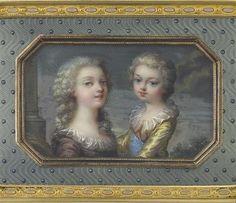 A miniature portrait of Marie Thérèse and Louis Joseph by Adrien-Jean-Maximilien Vachette. Circa 1784-1785.