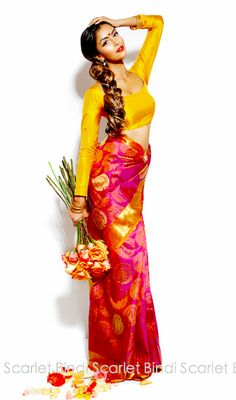 Bright & Beautiful #Saree - Blouse via @Jamie Wise Wise Gagnon Bindi - #SouthAsian #Fashion ~