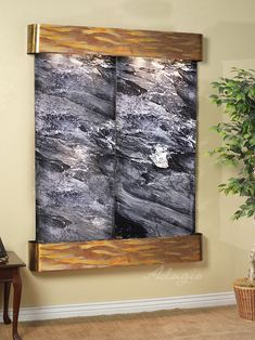 Majestic River with Rustic Copper Frame and Black Spider Marble - Wall Accent Home Decor Indoor Wall Fountains, Indoor Fountain, Water Fountains, Small Fountains, Zen, Waterfall Fountain, Wall Waterfall, Waterfall Features, Tabletop Fountain