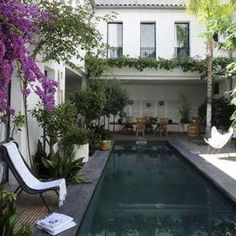Fabulous courtyard with lap pool.