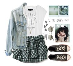"""""""My style"""" by raquel-t-k-m ❤ liked on Polyvore featuring H&M, Luv Aj, BOBBY, Polaroid, Love Quotes Scarves, INDIE HAIR, Ardene and Converse"""