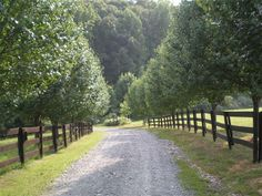 a long gravel drive way leading to my house.