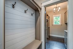 Built-ins and tile Home Design Plans, Plan Design, Stone Creek, American Houses, Dream House Plans, Built Ins, Mudroom, Small Bathroom, Sweet Home
