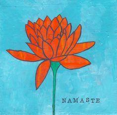 6x6 Namaste lotus flower mixed media original art by MeowBarkArt