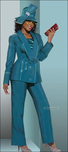 Ladies Silk Look Designer  Pant Suit in Seaport Color from Donna Vinci 11261 $179.00