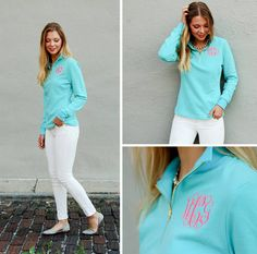 Monogrammed French Terry Quarter Zip by SEmbroideredBoutique