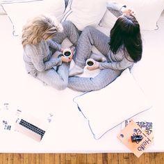 The best kind of mornings: coffee, best friends, pajamas