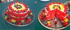 Cake Made Entirely of Fruit   Healthy birthday cake - made entirely from fruit! Two large watermelon ...