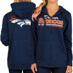 Denver Broncos Women's Navy Blue Full Zip Hoodie