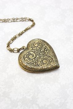 Vintage Style Locket Necklace in Antique Brass
