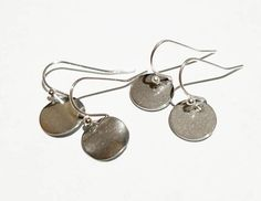 Silver Tone Blank Round Disk Drop Earrings with French Hooks -Charm Earrings-Drop Earrings- Minimal Earrings- Bohemian Hobo Earrings