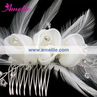 Crystal & Feather Lace Flower Wedding Fascinator Hair Comb Bridal Hair Accessories