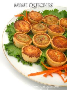 Freeze Holiday Appetizer - Mini Quiches This Mini Quiches are wonderful served as appetizers at a holiday party. You can make them ahead of time and freeze them; they reheat beautifully. Diet Recipes, Chicken Recipes, Snack Recipes, Cooking Recipes, Healthy Recipes, Snacks, Freezer Recipes, Quiche Recipes, Party Recipes