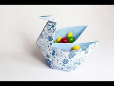 Оригами. Origami. Птица миска оригами / Bird bowl origami 折り紙, 종이 접기 - YouTube