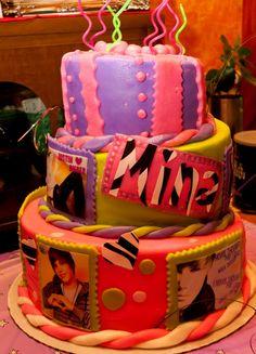 Neon, 3 tier, 9 layers of Rainbow cake, Justin Bieber Mad hatter Ninja cake