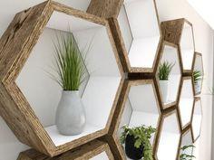 Rustic White Hexagon Wall Shelf in Solid Oak Decor, Geometric Shelves, Rustic White, Hexagon Shelves, Hexagon Wall Shelf, Solid Oak, Home Decor, Oak Shelves, Hexagon