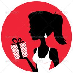 Silhouette of beautiful woman holding present