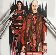 Givenchy Fall 2015 Menswear | Copic, Illustration by Paul Keng