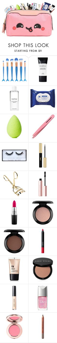 """Makeup Bag"" by pandadance ❤ liked on Polyvore featuring beauty, Smashbox, Chantecaille, Klorane, beautyblender, Tweezerman, Huda Beauty, Yves Saint Laurent, Too Faced Cosmetics and Arbonne"