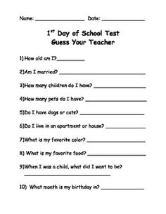 First Day of School Test-Guess Your Teacher