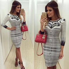 Sexy Stripe 3/4 Sleeve Bodycon Women Dress