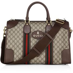 Gucci Soft GG Supreme Duffel Bag (9,185 SAR) ❤ liked on Polyvore featuring men's fashion, men's bags, mens leather duffle bag, men's duffel bags, mens leather bag, mens bag and mens leather duffel bag