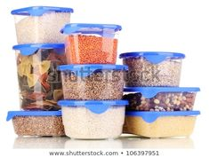 Filled plastic containers isolated on white Home Recipes, Whole Food Recipes, Vegan Recipes, Sauteed Kale, High Fiber Foods, Vegan Kitchen, Kitchen Pantry, Lemon Sauce, Protein Sources