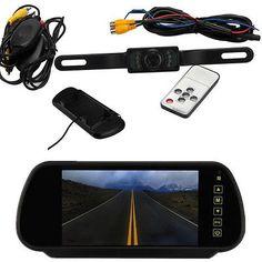 "7"" LCD Auto Car Rear View Backup Mirror Monitor+Wireless Reverse IR Camera Kit"
