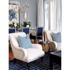 Yay or Nay: A stylish living + dining space with rich #blue textured #fabrics…
