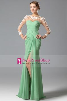 2015 Mother Of The Bride Dresses Mermaid/Trumpet Full Sleeves Sweep/Brush Train (<30cm) Zipper Up Back With Applique