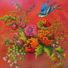 Floral and bluebird painting by Jennifer Lanne