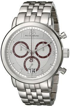 88 Rue du Rhone Men's 87WA130036 Double 8 Origin Analog Display Swiss Quartz Silver Watch. Shiny stainless steel men's bracelet watch. Fitted with sapphire crystal. Swiss-quartz movement. Case diameter: 46mm. Water resistant to 165 feet.