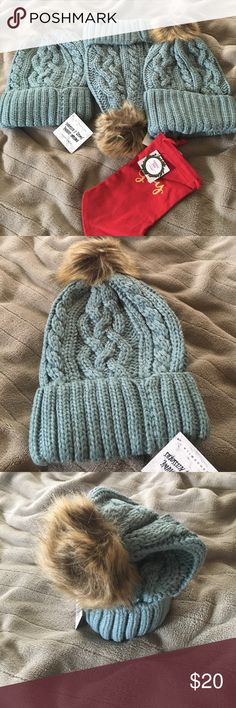 SOLD EACH....🤶🏽CROCHET BEANIE🤶🏽 Warm, fuzzy and cozy Teal colored beanie with brown Pom Pom top. Brand new with tag. Winter ❄️ ready. SOLD EACH Accessories