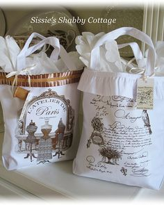 Decorated canvas bags from Wal-Mart!  Beautifully done!