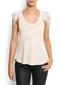 Feather trim t-shirt