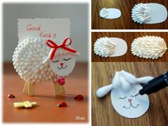 Too cute - lamb place card craft Kids Crafts, Cute Crafts, Easter Crafts, Diy And Crafts, Arts And Crafts, Cool Art Projects, Diy Craft Projects, Craft Tutorials, Projects For Kids