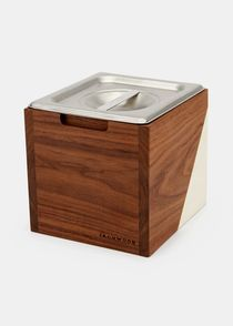 Small Wood + Stainless Steel Countertop Compost Bin