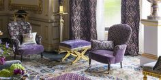 The Royal Collection is an exclusive range directly inspired by the magnificent interiors and furnishings of the British Royal family's residences. Queen 90th Birthday, Tricia Guild, The Royal Collection, Painted Chest, Silver Fabric, Scroll Design, Designers Guild, Lilacs, Traditional Design