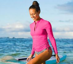 #Lululemon Women Pink Surf Turf UPF 50+ Shirt #yoga #swimwear at DustyJunk.com