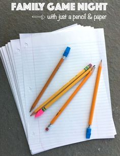 Easiest family game night ideas ever! Use only a pencil and paper for these fun for the whole family games!
