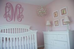 A beautiful very pink nursery with dresser and DIY monogram @babycenter