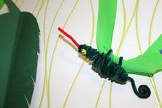 Dschungel Chamäleon Pfeifenputzer Biegeplüsch Liane Krepppapier Blatt