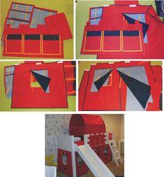 Conjunto de casinha com 3 janelas, 1 porta com janela, uma tenda e um organizador de objetos. Cortina azul jeans claro no lado externo e azul marinho no lado interno. Bolso vermelho. Viés azul marinho em todo contorno e laranja na moldura da janela. Organizador no brim vermelho com bolsos no tricoline vermelho e azul marinho com viés laranja contornando os bolsos. Decorative fabric house with 3 windows, 1 door and windows, 1 roof and 1 organizer.